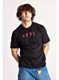 XHAN Siyah Önü & Arkası Baskılı Oversize T-Shirt  Siyah